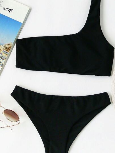 One Shoulder Top With Panty Bikini Set