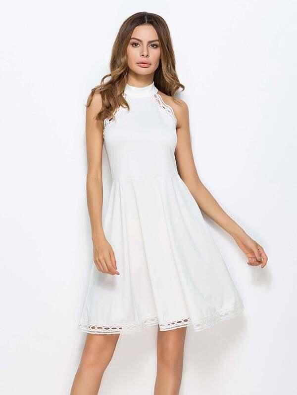 b51b506280616 Hollow Out Crochet Trim Swing Dress | SHEIN IN