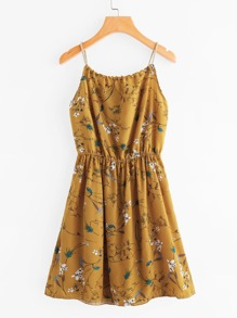 Braided Strap Tie Back Calico Cami Dress