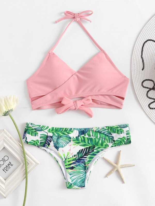 c4b4f5499439d Palm Print Wrap Self Tie Bikini Set | SHEIN