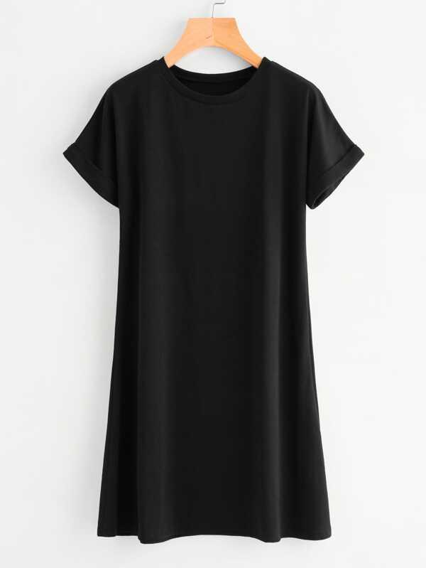 Rolled Sleeve Basic Tee Dress by Shein