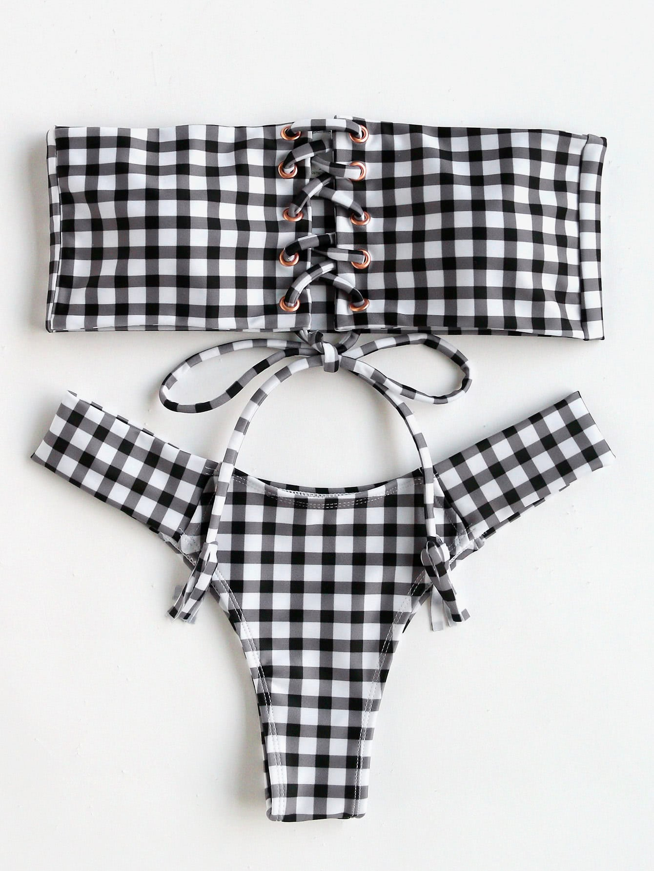 Black And White Checkered Bikini