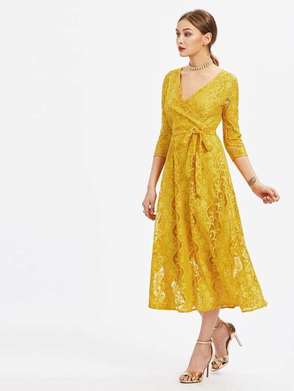 Chorhemd Kleid mit Spitze und Selbstbindung- German SheIn(Sheinside)