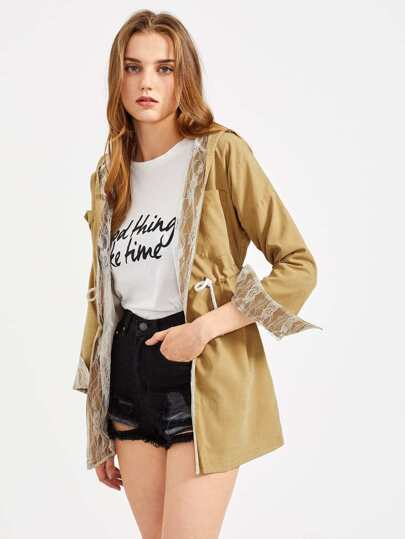 Hooded Drawstring Waist Lace Lining Trench Coat