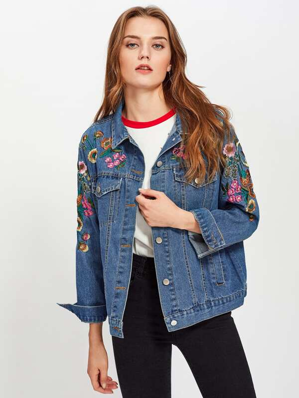 b2e1d341f1 Flower Embroidered Denim Jacket