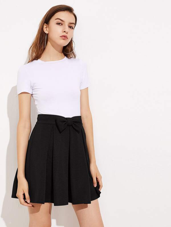 Bow Front Box Pleated Skirt  22903e523c9
