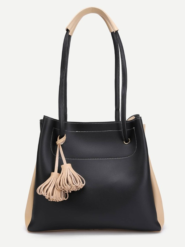 ef9a749420 Tassel Detail Two Tone Tote Bag With Clutch | SHEIN