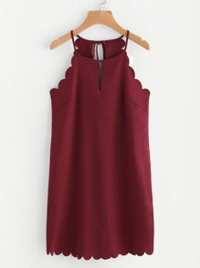 Double Keyhole Scallop Edge Dress
