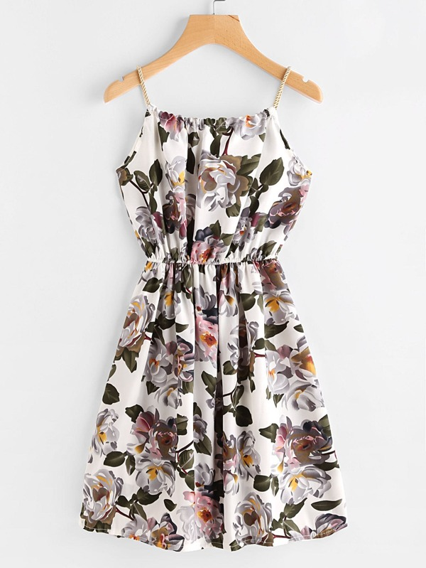0a4e700119d83 Floral Print Random Self Tie Cami Dress | SHEIN