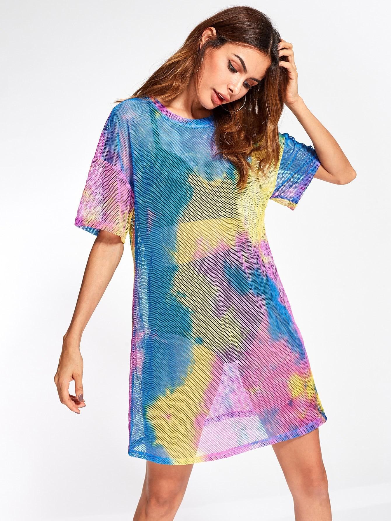 58ed7ef811 Drop Shoulder Tie Dye Fishnet Cover Up Dress | SHEIN UK