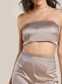 818730d6ba Satin Solid Bandeau & Matching Pants Set. AddThis Sharing Buttons