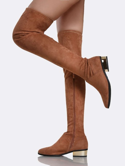 Thigh High Zip Up Heel Boots MOCHA