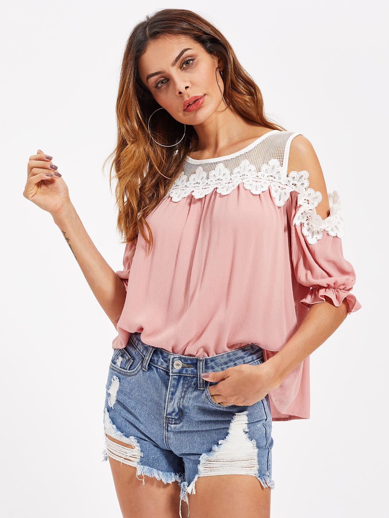 e143a06756e Lace Applique Fishnet Shoulder Top EmmaCloth-Women Fast Fashion Online