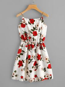 Braided Strap Tie Back Floral Cami Dress