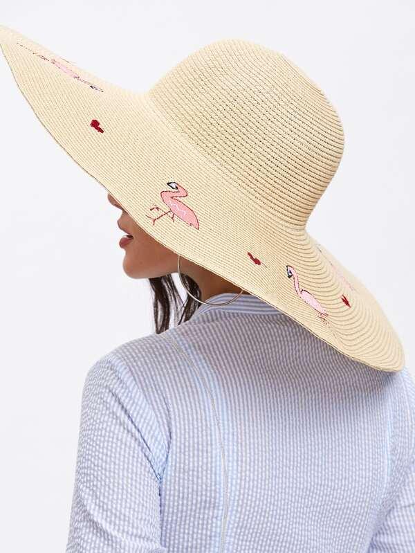 Flamingo Pattern Oversized Floppy Straw Hat  47431883076d