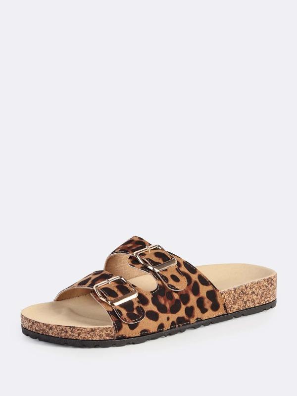 Leopard Buckle Leopard Leopard Sandals Double Buckle Buckle Sandals Double Double cl3TFK1J