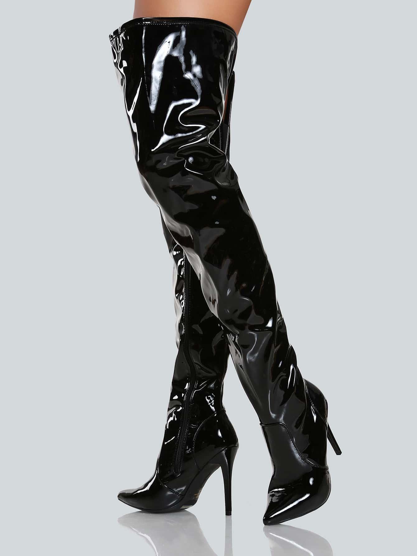 Faux Leather Shiny Thigh High Pump BLACK