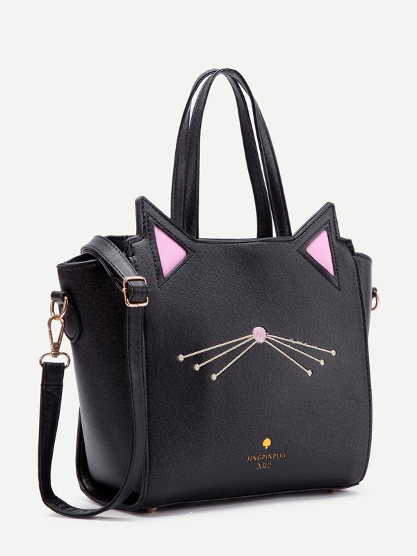 9611d2907d Cat Ear Embroidery Detail PU Shoulder Bag | SHEIN IN