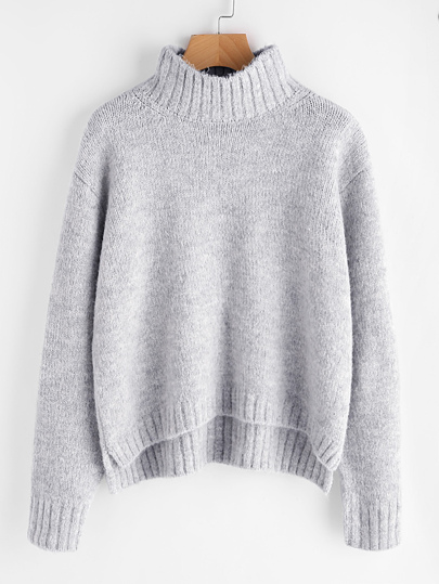 Marled Knit Stepped Hem Sweater