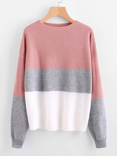 Drop Shoulder Color Block Textured Sweater