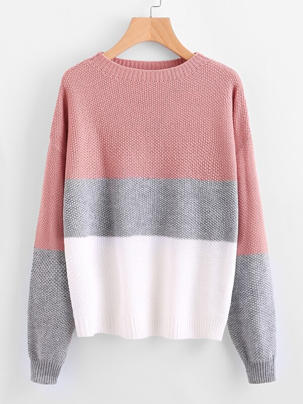 ba3c57d982 Drop Shoulder Color Block Textured Sweater | SHEIN