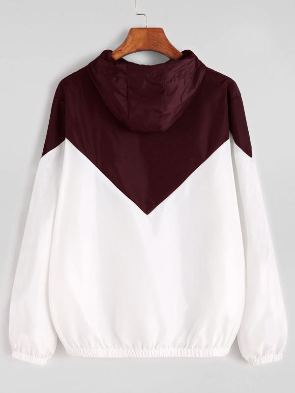 Veste avec zip encapuchonné avec cordon bicolore -French SheIn(Sheinside)