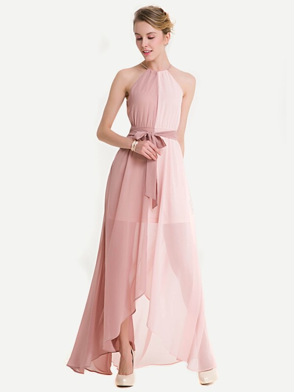 83931c6390d42 Spliced Two Tone Belted Halter Chiffon Dress | SHEIN UK