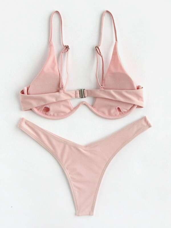 2d65772873a40 Underwire Top With High Leg Bikini Set