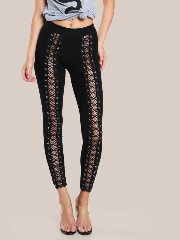 Famous Fishnet Lace Up Leggings BLACK -SheIn(Sheinside) LU89