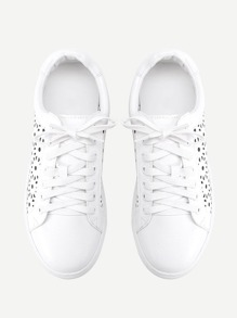 01adf134be Laser Cut Lace Up PU Sneakers | SHEIN