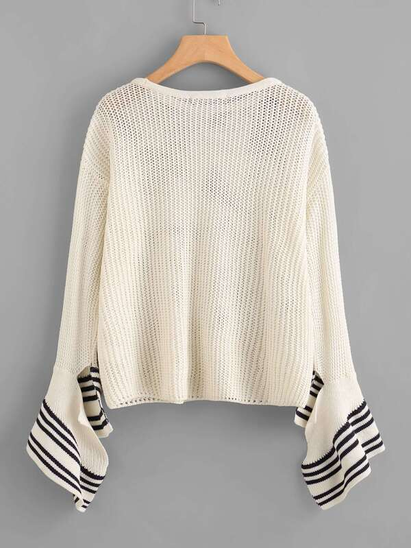 d572344f4f129c Striped Split Bell Sleeve Loose Knit Jumper. AddThis Sharing Buttons