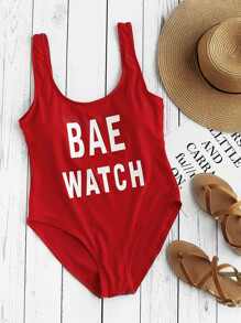 Letter Graphic Scoop Neck One Piece Swimsuit