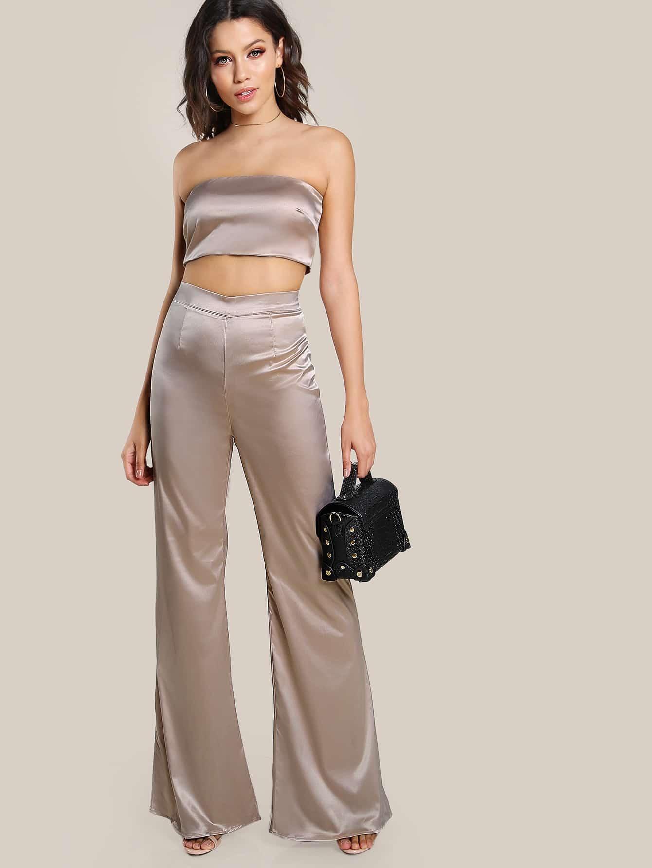 Satin Solid Bandeau Amp Matching Pants Set Shein Sheinside