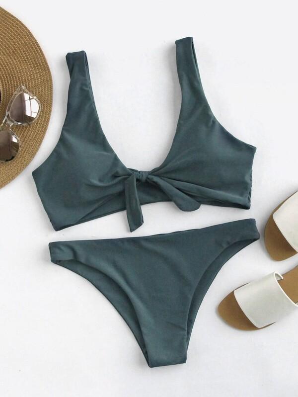 8e89f6362f Scoop Back Bow Tie Top With High Leg Bikini Set | SHEIN