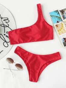One Shoulder Top With High Leg Bikini Set