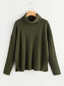 Roll Neck Drop Shoulder Rib Knit Jumper
