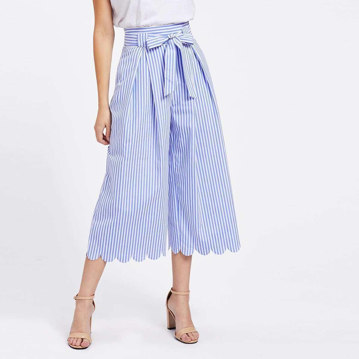 - Tie Waist Scallop Hem Culotte Pants