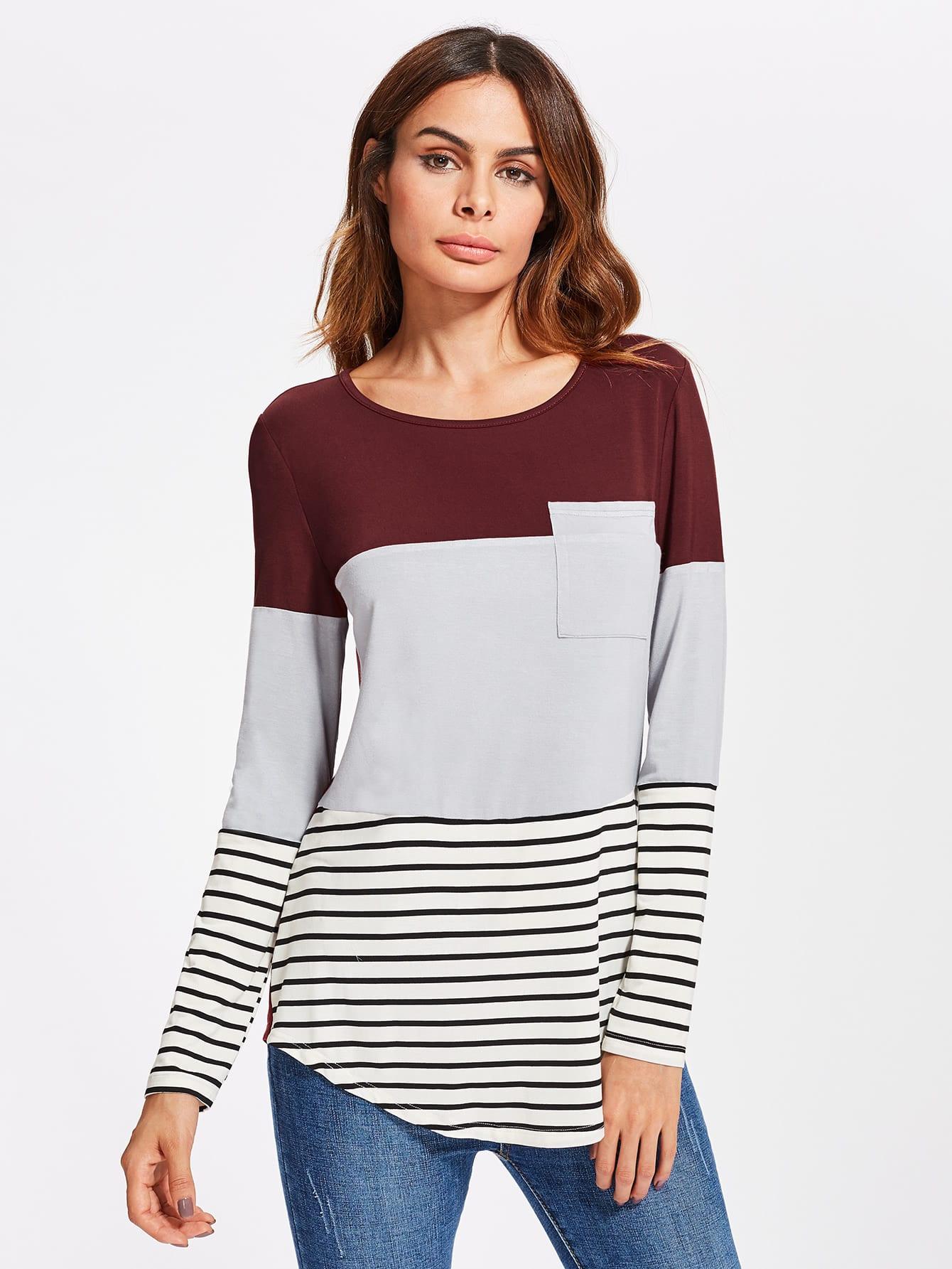 757f5c3302 Pocket Front Cut And Sew Curve Hem Tee EmmaCloth-Women Fast ...