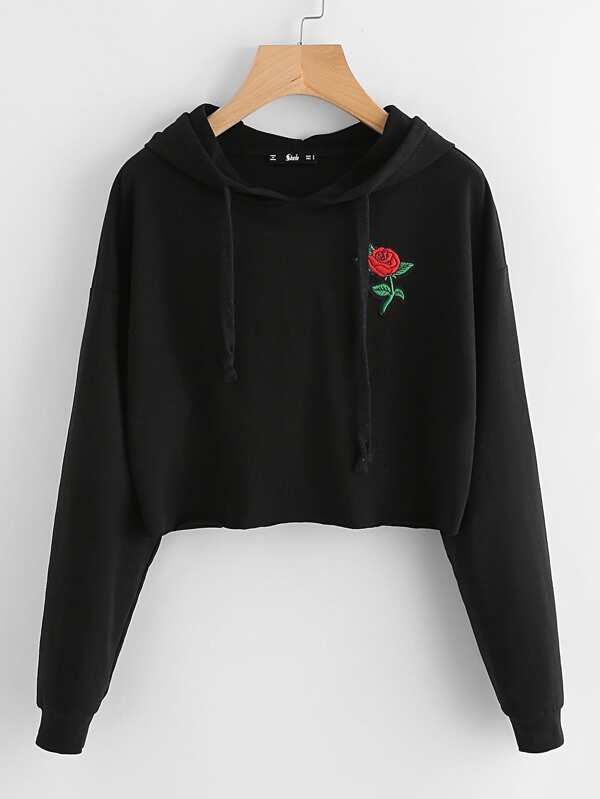 12ce8780d1f Embroidered Rose Patch Raw Hem Hoodie