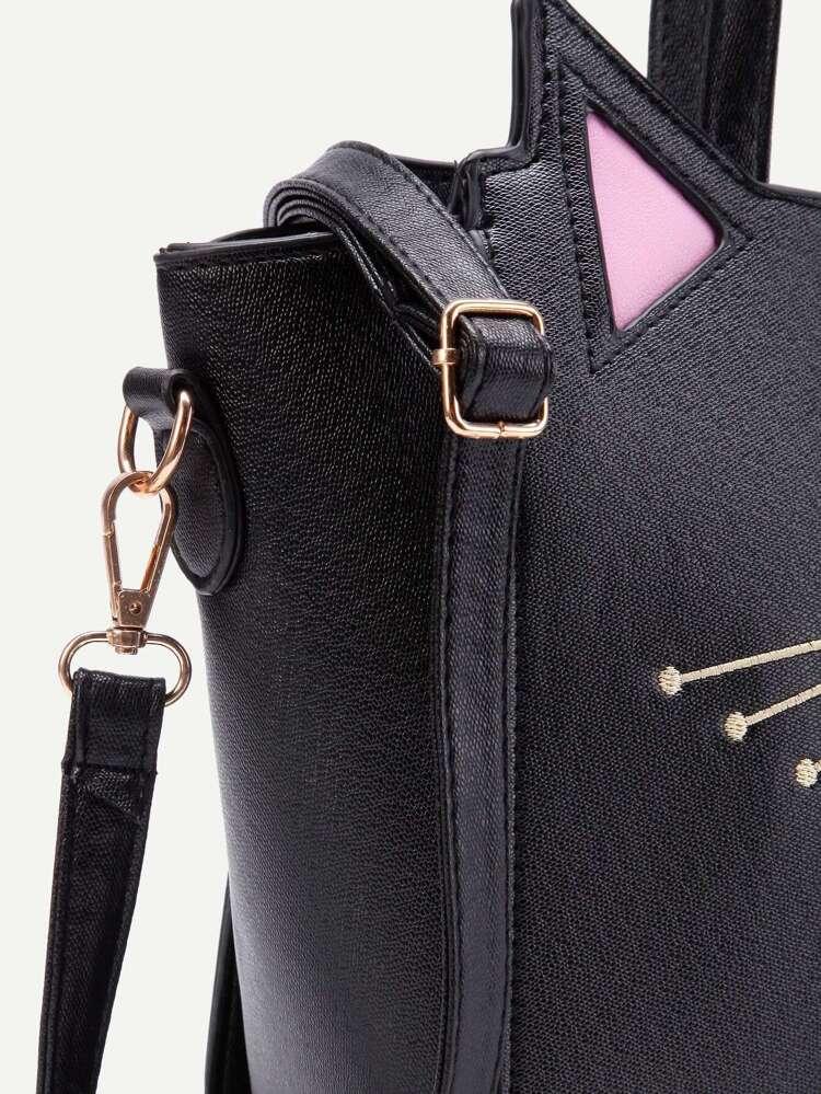 ddfefa09eb Cat Ear Embroidery Detail PU Shoulder Bag | SHEIN