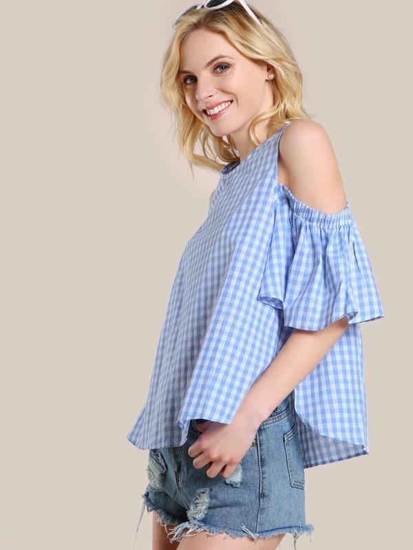 ef6464b49ae90 Cheap Gingham Cold Shoulder Shirt BLUE for sale Australia