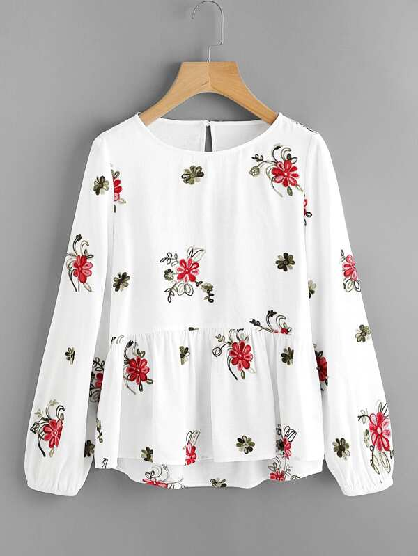 bd6e3ed66b8b18 Flower Embroidered Smock Top | SHEIN