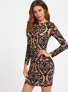 Damask Print Open Back Bodycon Dress