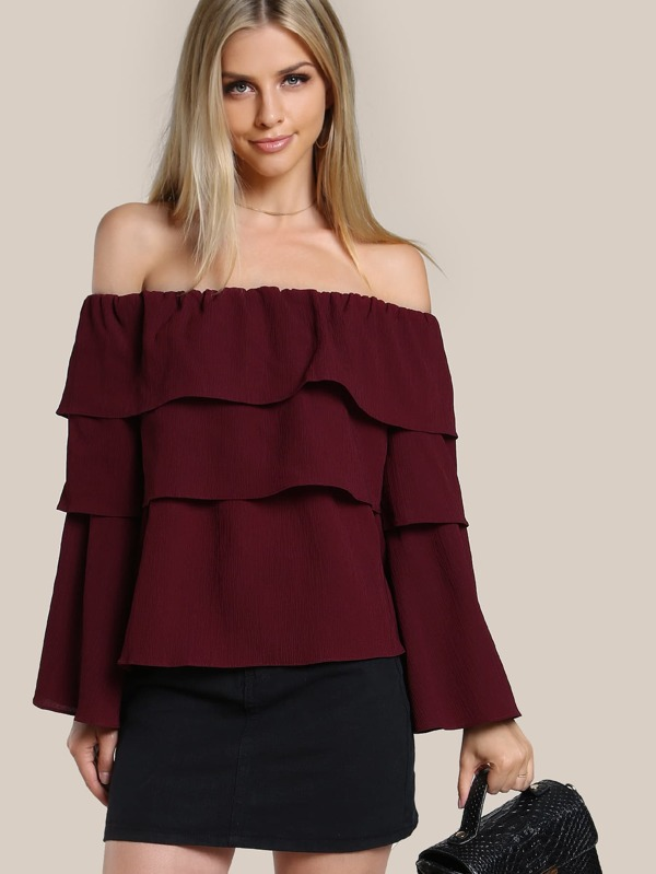 d196ddeacef5 Layered Sleeve Off Shoulder Shirt WINE