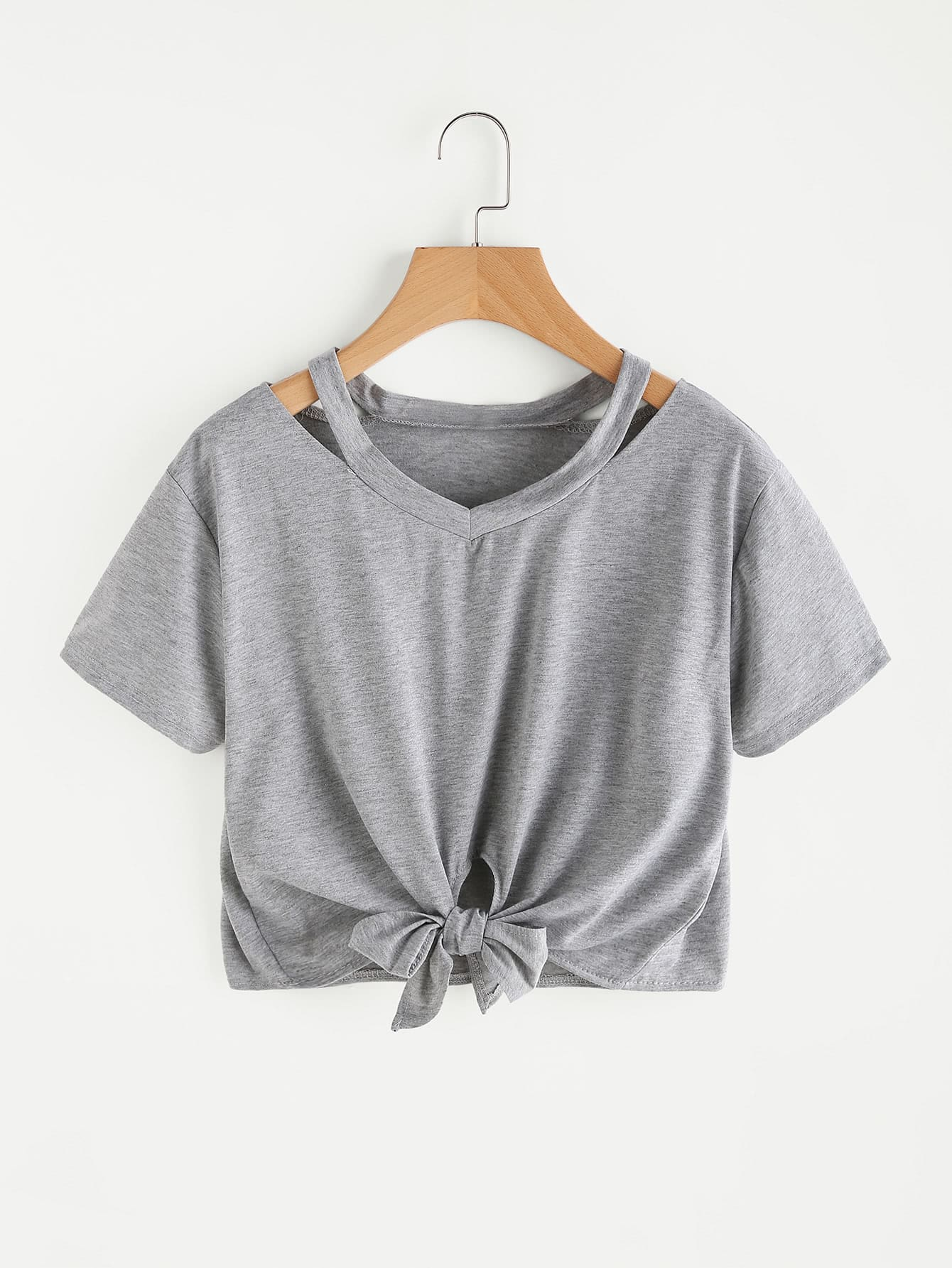 Cut out neck knot front teefor women romwe for How to whiten shirts