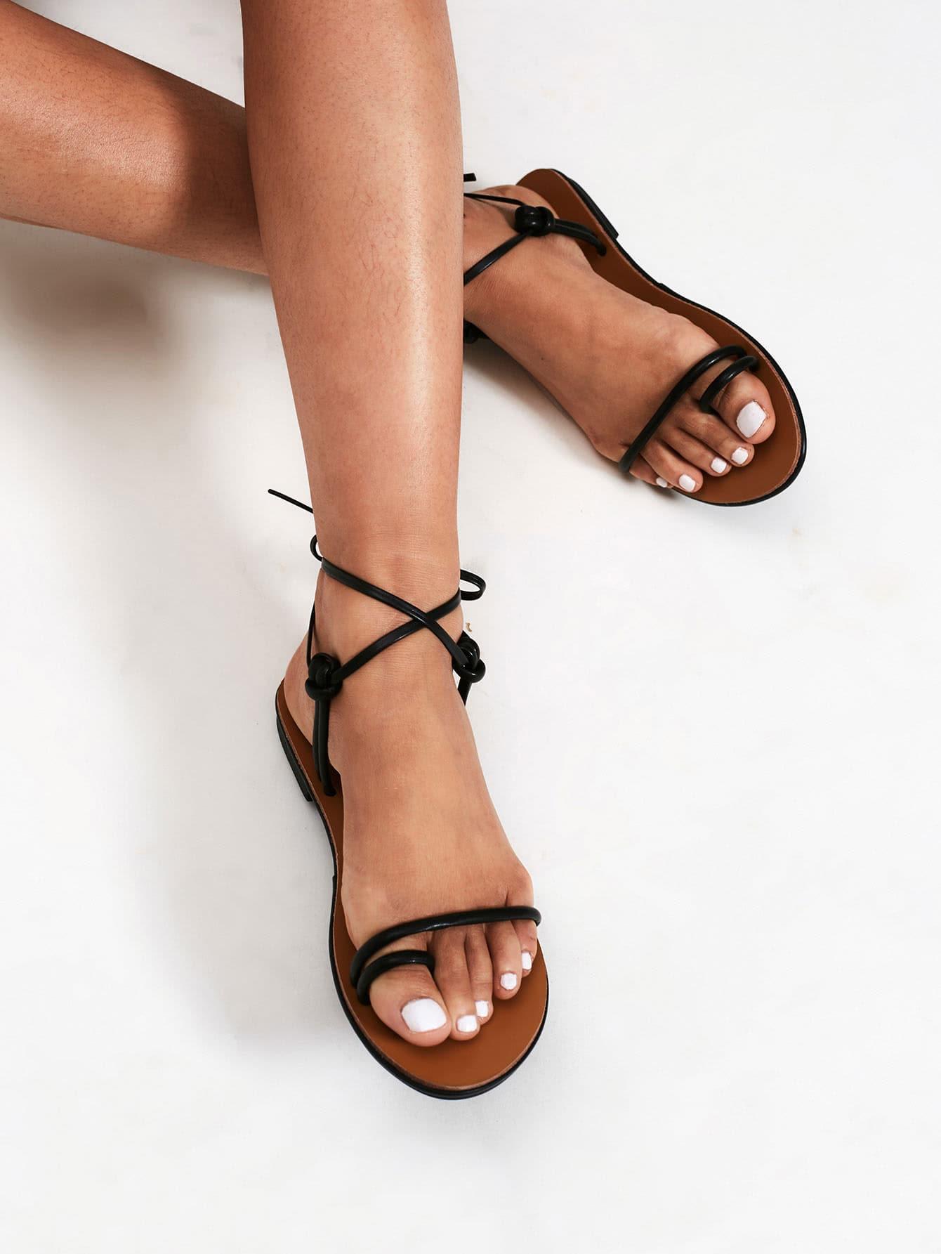Knot Design Toe Ring Flat Sandals Shein Sheinside