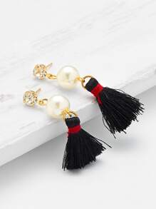 Rhinestone & Faux Pearl Tassel Earrings