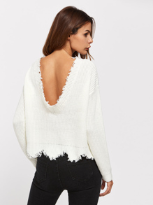 Low Back Scallop Raw Edge Jumper