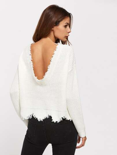 Low Back Scallop Raw Edge Sweater