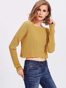 Drop Shoulder Rib Knit Crop Jumper
